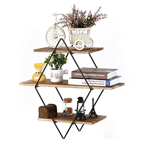 Homode Floating Shelves, 3 Tier Geometric Diamond Wall Shelves, Wood and Metal Art, Rustic Farmhouse Decor - zingydecor