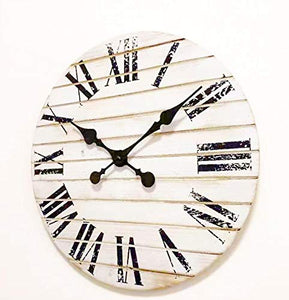 TutisD White Rustic Farmhouse Decor For The Home-Rustic Home Decor-Bedroom Wall Decor-Office Decor-Battery Operated Wall Clock With Roman Numerals-Clocks For Living Room Decor