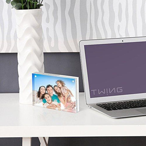 TWING Acrylic Photo Frame - 5x7 inches 4 Magnet Double Sided Photo Frame With Microfiber Cloth,12 + 12MM Thickness Clear Picture Frame Desktop Display