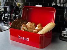 Load image into Gallery viewer, Bread Box For Kitchen - Bread Bin Storage Container For Loaves, Pastries, and More - Retro / Vintage Inspired Design - Red - 16.75 x 9 x 6.5 Inches - zingydecor