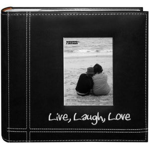 "Pioneer Photo Albums Embroidered Live, Laugh, Love Black Sewn Leatherette Frame Cover Album for 4""x6"" Prints - zingydecor"