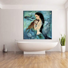 Load image into Gallery viewer, Modern Oil Painting Print Art Animal Painting Mermaid Pattern on Canvas Wall Art Home Decoration Unframe 20 x 20 in - zingydecor