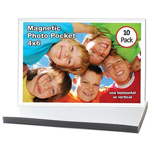 Magtech Magnetic Photo Pocket Frame, White, Holds 4 x 6 Inches Photos, 10 Pack - zingydecor