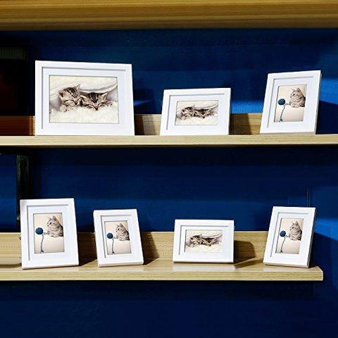 Image of Innocheer Picture Frame Set of 7: Solid Wood, Three 4x6 Inches - Three 5x7 Inches - One 8x10 Inches