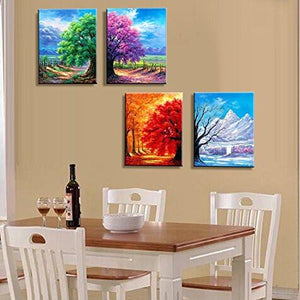 4 Seasons Modern Landscape 4 Panels Framed Canvas Print Wall Art, Ready to Hang - zingydecor