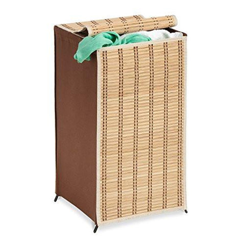 Image of Honey-Can-Do HMP-01619 Tall Wicker Weave Hamper, Bamboo Laundry Organizer