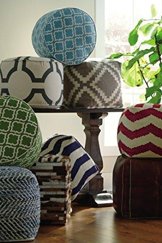 Ashley Furniture Signature Design - Chevron Pouf - Hand Woven Traditional Styling - Comfy Chair or Footrest - Blue - zingydecor