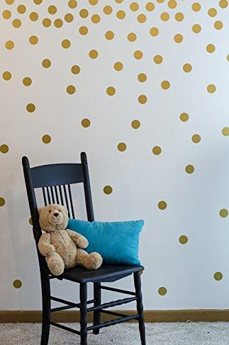 Gold Wall Decal Dots (200 Decals) | Easy to Peel Easy to Stick + Safe on Painted Walls | Removable... - zingydecor