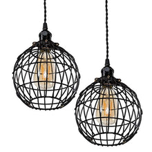 Rustic State Vintage Design Metal Light Cage Guard – Decorative Lamp Shade Black Set of 2Rustic State Vintage Design Metal Light Cage Guard – Decorative Lamp Shade Black Set of 2 (Globe) - zingydecor