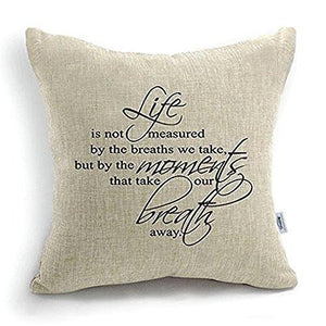 CoolDream 18 Inch Quote Words Square Decorative Cotton Linen Cushion Cover Throw Pillowcase - zingydecor