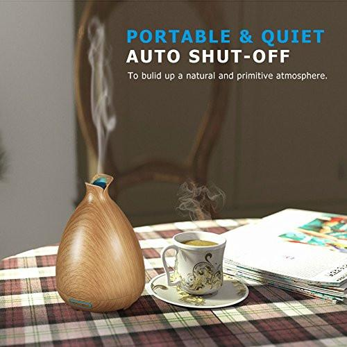 URPOWER Essential Oil Diffuser 130ml Ultrasonic Aromatherapy Oil Diffuser with Adjustable Mist...