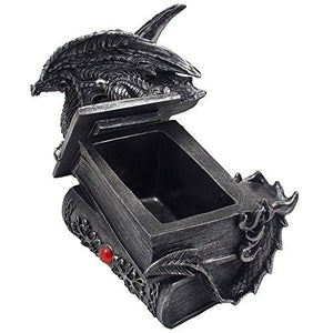Mythical Guardian Dragon Trinket Box Statue with Hidden Book Storage Compartment for Decorative Gothic & Medieval Home Decor Sculptures and Figurines As Jewelry Boxes or Magical Fantasy Gifts for Office Study Library by Home-n-Gifts - zingydecor