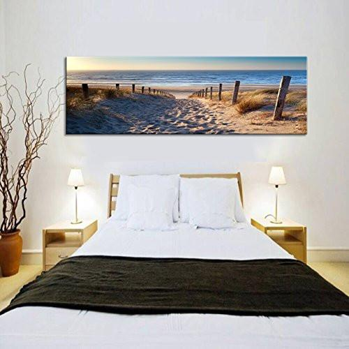 Blue sand footprints Canvas Print Paintings for Wall and Home Decor - zingydecor
