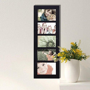 Adeco Decorative Wood Wall Hanging Picture Frame, 4 by 6-Inch, Black, 5-Divided Opening - zingydecor
