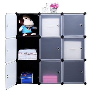SONGMICS 3-Tier DIY Storage Cube Organizer Closet 9-Cube Bookcase Cabinet with Door ULPC33H