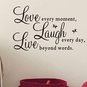"Ussore Wall Sticker Live Love Butterfly Wall Stickers Home Decor Wall Art For Kids Home Living Room House Bedroom Bathroom Kitchen Office ""Live Every Moment,Laugh Every Day,Love Beyond Words"""