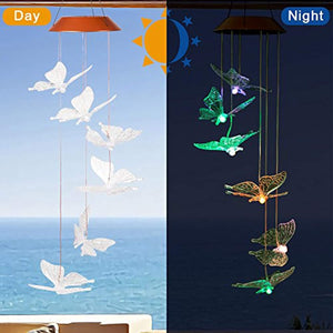 CXFF LED Solar Butterfly Wind Chimes Outdoor - Waterproof Solar Powered LED Changing Light Color 6 Butterflies Mobile Romantic Wind-bell For Home, Party, Festival Decor, Night Garden Decoration - zingydecor