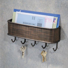 Load image into Gallery viewer, InterDesign Twillo Mail, Letter Holder, Key Rack Organizer for Entryway, Kitchen - Wall Mount