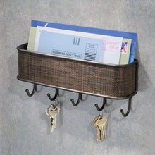 InterDesign Twillo Mail, Letter Holder, Key Rack Organizer for Entryway, Kitchen - Wall Mount