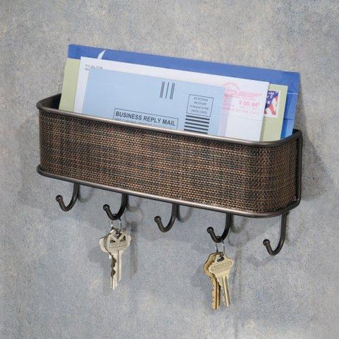 Image of InterDesign Twillo Mail, Letter Holder, Key Rack Organizer for Entryway, Kitchen - Wall Mount