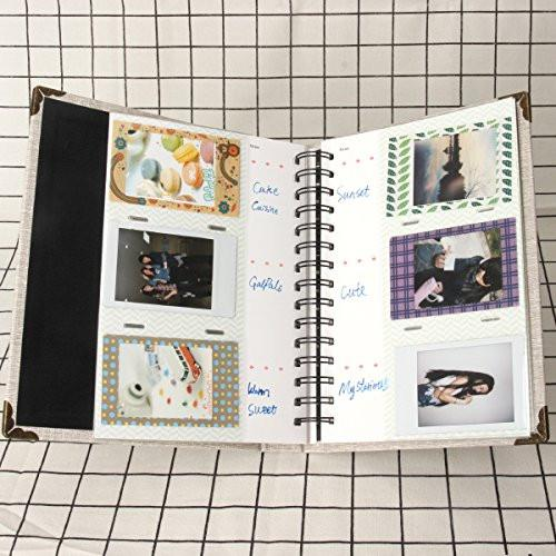 Fujifilm Instax Mini Photo Album Woodmin 120 Pockets White Coil Photo Album for Polaroid 3-inch films, Name-card Holder Book