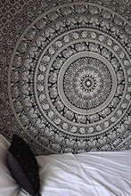 Load image into Gallery viewer, Labhanshi 90 x 90 inch Elephant Mandala Indian Traditional Hippie Cotton Tapestry, Black and White, Queen