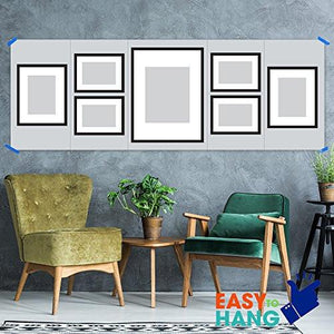 GALLERY PERFECT 7 Piece Black Wood Photo Frame Wall Gallery Kit #11FW1443. Includes: Frames, Wall Template, Decorative Prints and Hanging Hardware. - zingydecor