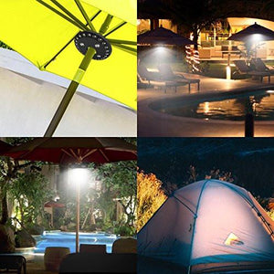 AMIR Patio Umbrella Light, Cordless 28 LED Night Lights, 3 Lighting Modes & 200 Lumens Decorative Hanging Ornaments, Battery Operated Umbrella Pole Light for Camping Tents or Outdoor Use (Black) - zingydecor