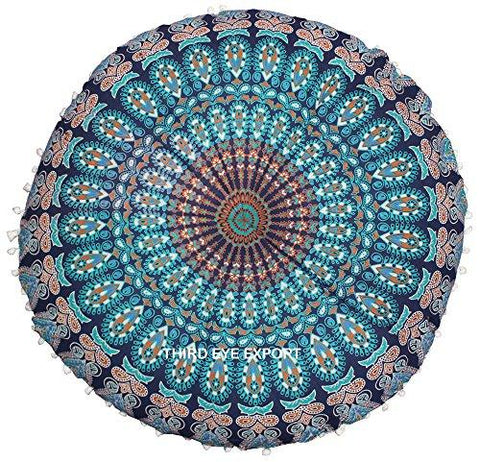 "Image of Third Eye Export - 32"" Mandala Barmeri Large Floor Pillow Cover Cushion Meditation Seating Ottoman Throw Cover Hippie Decorative Zipped Bohemian Pouf (Blue)"