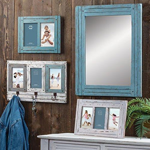 "Prinz 3 Opening Homestead Antique Wood Collage Frame, 4 x 6"", Blue - zingydecor"