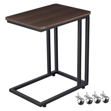 Load image into Gallery viewer, Industrial Side Table, Mobile Snack Table for Coffee Laptop Tablet, Slides Next to Sofa Couch, Wood Look Accent Furniture with Metal Frame