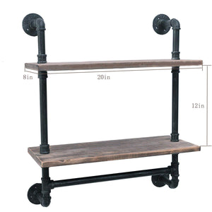 Industrial Pipe Bathroom Shelves Wall Mounted 2-shelf,Rustic Pipe Shelving Wood Shelf With Towel Bar,Pipe Floating Shelves Towel Holder
