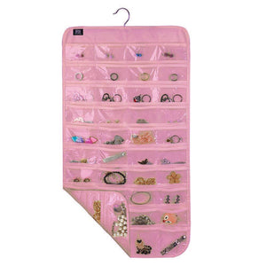 Hanging Jewelry Organizer,80 Pocket Organizer for Holding Jewelries(Beige)