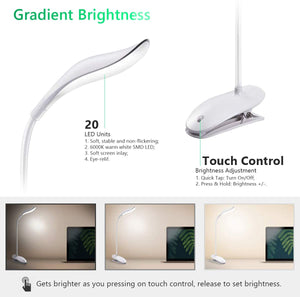 Miady 20 LED Clip on Lamp, Cordless & Portable Clip on Light, Touch Control Stepless Dimming, Eye-Care Adjustable Brightness Reading Light, USB Rechargeable and Built-in 1200mAh Battery