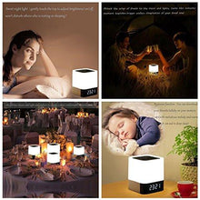 Load image into Gallery viewer, Wireless Bluetooth 4.0 Speaker Portable HIFI Stereo with Led Light Lamp and Alarm Clock, Hands-free Calls,Quality Sound, Touch Sensor, MP3 Player, Support SD TF Card, 3.5mm AUX Jack (White)