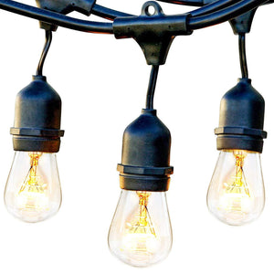Brightech Ambience Pro - Waterproof Outdoor String Lights - Hanging Industrial 11W Edison Bulbs - 48 Ft Vintage Bistro Lights - Create Great Ambience in Your Backyard, Gazebo - zingydecor