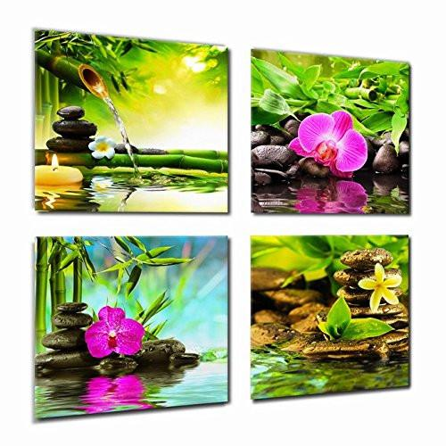 Canvas Prints Zen Art Wall Decor - Spa Massage Treatment Painting Picture Print on Canvas Framed Ready to Hang - Red Orchid Frangipani Bamboo Waterlily Black Stone in Garden - 4 Panel Giclee Artwork - zingydecor