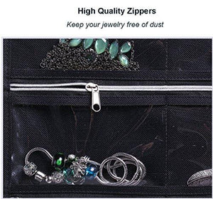 Misslo 44 Pockets Oxford Hanging Jewelry Organizer with Zipper Hanger - zingydecor