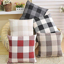 Load image into Gallery viewer, Black White Retro Checkers Plaids Linen Square Throw Pillow Cover Decorative Cushion Sham Pillowcase Cushion Case for Sofa 18 x 18 Inch - zingydecor