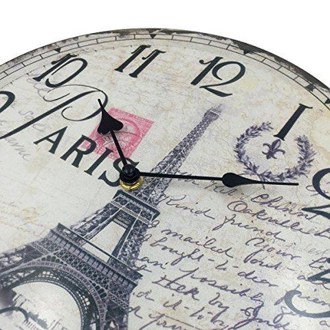 Image of Hippih Silent Round Wall Clocks (12 Inches) Living Room Decorative Vintage / Country / French Style Wooden Clock(Round Eiffel)