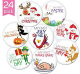 "24 Pack of 4"" Premium Baby Monthly Stickers By KiddosArt. 1 Happy Animal Sticker Per Month of Your..."