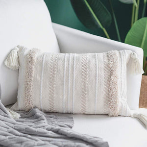 Lumbar Small Decorative Throw Pillow Covers for Couch Sofa Bedroom Living Room, Woven Tufted Boho Pillows Cover with Tassels, Cute Farmhouse Pillows Case (12X20 inch, Cream) - zingydecor