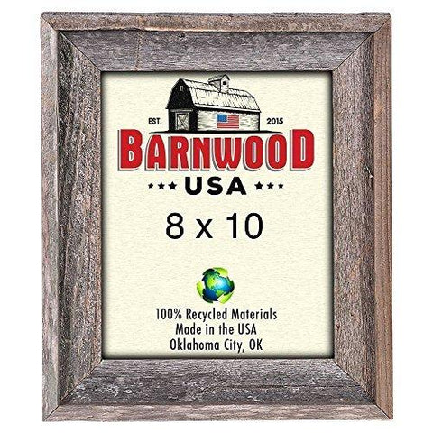 Image of BarnwoodUSA Rustic 8x10 Inch Signature Picture Frame - 100% Reclaimed Wood, Weathered Gray - zingydecor