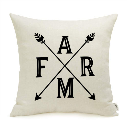 Meekio Farmhouse Decorative Throw Pillow Covers with Arrow Rustic Pillow Covers 18 x 18 Inch