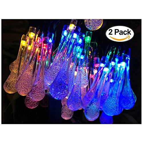 2 Pack Solar Strings Lights, Lemontec 20 Feet 30 LED Water Drop Solar Fairy Lights, Waterproof Lights for Garden, Patio, Yard, Home, Parties- Multi Color - zingydecor