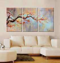 "Load image into Gallery viewer, Modern 100% Hand Painted Flower Oil Painting on Canvas ""Orange Plum Blossom"" 3-Piece Gallery-Wrapped Framed Wall Art Ready to Hang for Living Room for Wall Decor Home Decoration 24x48inches - zingydecor"