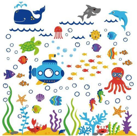 Image of The Deep Blue Sea Decorative Peel & Stick Wall Art Sticker Decals