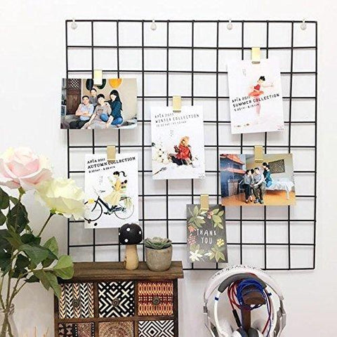 "Image of Hosal Multifunction Grid Panel,Wall Decor/ Photo Wall/ Wall Art Display/ Organizer, Size:23.6"" x 23.6"", Pack of 2 Pcs, Black"