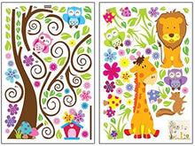 Load image into Gallery viewer, Kids Jungle Theme Peel and Stick Wall Decal, Colorful Owl Giraffe Lion Tree Decorative Unisex Sticker for Children Bedroom, Nursery, Playroom Mural
