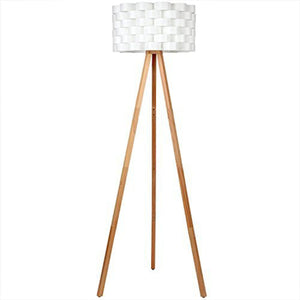 Brightech Bijou LED Tripod Floor Lamp Contemporary Design for Modern Living Rooms – Soft, Ambient Lighting, Tall Standing Easel Survey Lamp for Bedroom, Family Room, or Office - Natural Wood Color - zingydecor